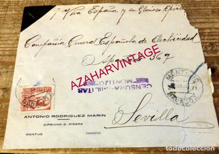 MONTIJO, BADAJOZ, 1937, SOBRE CIRCULADO A SEVILLA, CENSURA MILITAR (Sellos - España - Guerra Civil - De 1.936 a 1.939 - Cartas)