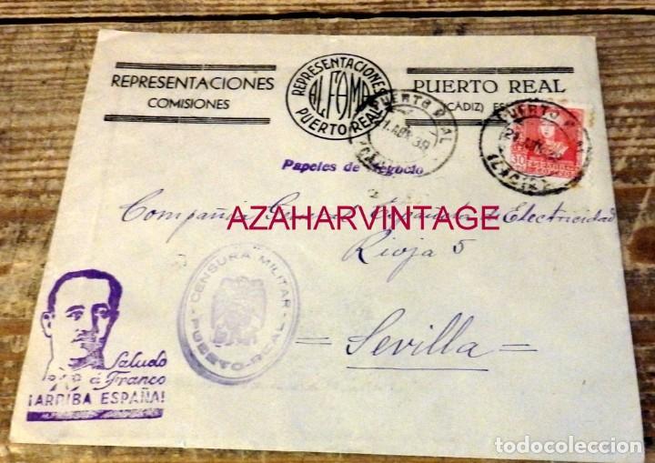 PUERTO REAL, CADIZ, 1939, SOBRE CIRCULADO A SEVILLA, CENSURA MILITAR, SELLO LOCAL (Sellos - España - Guerra Civil - De 1.936 a 1.939 - Cartas)