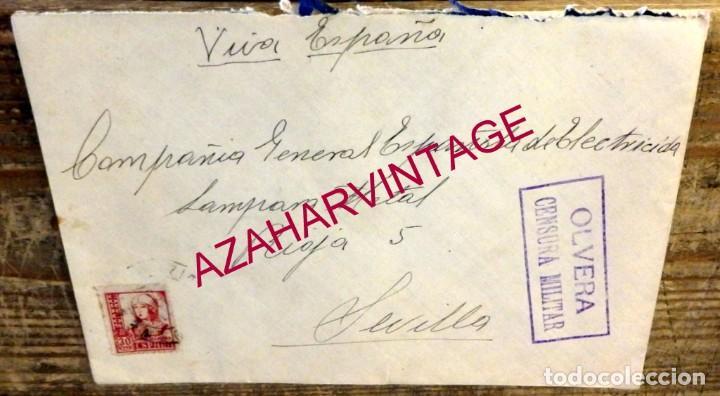 OLVERA, CADIZ, SOBRE CIRCULADO A SEVILLA, CENTRAL ELECTRICA, CENSURA MILITAR (Sellos - España - Guerra Civil - De 1.936 a 1.939 - Cartas)