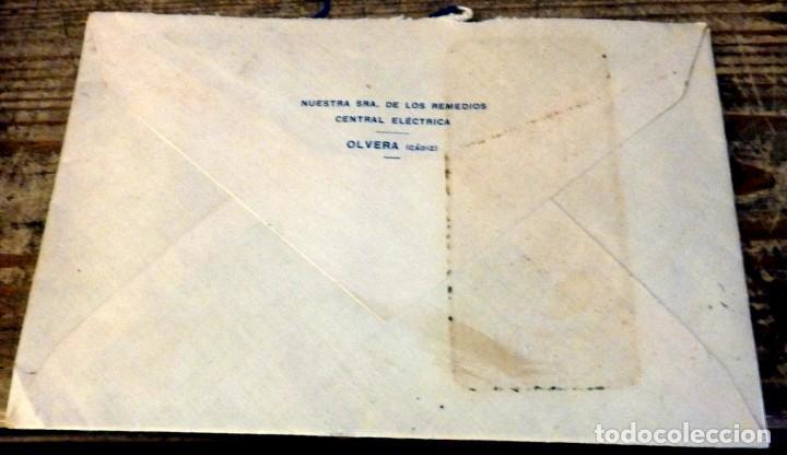 Sellos: OLVERA, CADIZ, SOBRE CIRCULADO A SEVILLA, CENTRAL ELECTRICA, CENSURA MILITAR - Foto 2 - 169384004