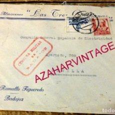 Sellos: BADAJOZ,1937, SOBRE ALMACENES LAS TRES CAMPANAS, CENSURA MILITAR. Lote 169384780
