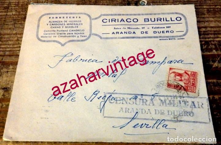 ARANDA DE DUERO, 1937, SELLO MEMBRETE CIRIACO BURILLO, CIRCULADO A SEVILLA, CENSURA MILITAR (Sellos - España - Guerra Civil - De 1.936 a 1.939 - Cartas)