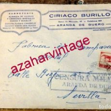 Sellos: ARANDA DE DUERO, 1937, SELLO MEMBRETE CIRIACO BURILLO, CIRCULADO A SEVILLA, CENSURA MILITAR. Lote 169392708