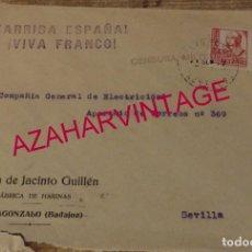 Sellos: VILLAGONZALO, BADAJOZ, 1937, SOBRE CIRCULADO A SEVILLA, CENSURA MILITAR , RARO. Lote 169393132