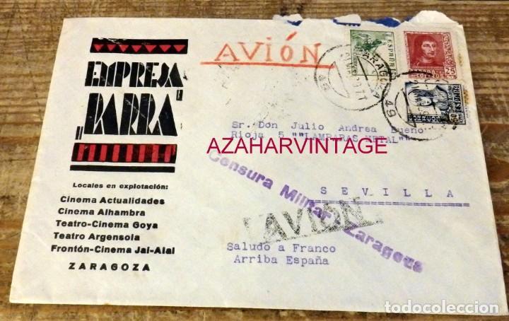 ZARAGOZA, 1939,SOBRE CIRCULADO A SEVILLA, CENSURA MILITAR, PATRIOTICO (Sellos - España - Guerra Civil - De 1.936 a 1.939 - Cartas)
