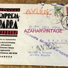 Sellos: ZARAGOZA, 1939,SOBRE CIRCULADO A SEVILLA, CENSURA MILITAR, PATRIOTICO. Lote 169407276