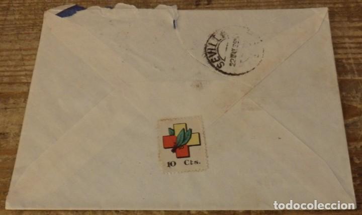 Sellos: ZARAGOZA, 1939,SOBRE CIRCULADO A SEVILLA, CENSURA MILITAR, PATRIOTICO - Foto 2 - 169407276