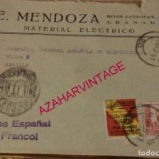 Sellos: GRANADA, 1937, SOBRE CIRCULADO A SEVILLA, CENSURA MILITAR, REVERSO PUBLICITARIO. Lote 169434636