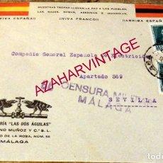 Sellos: MALAGA,1937, SOBRE PATRIOTICO FERRETERIA LAS DOS AGUILAS, CENSURA MILITAR, RARO. Lote 169435632