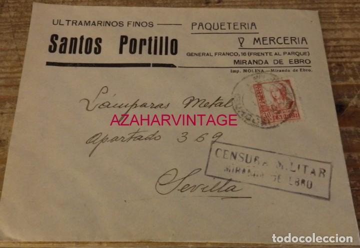 MIRANDA DE EBRO, 1937, SOBRE CIRCULADO A SEVILLA, CENSURA, MEMBRETE ULTRAMARINOS SANTOS PORTILLO (Sellos - España - Guerra Civil - De 1.936 a 1.939 - Cartas)