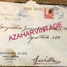 Sellos: VILLADA, PALENCIA, 1937, SOBRE CIRCULADO A SEVILLA, CENSURA MILITAR. Lote 169442504