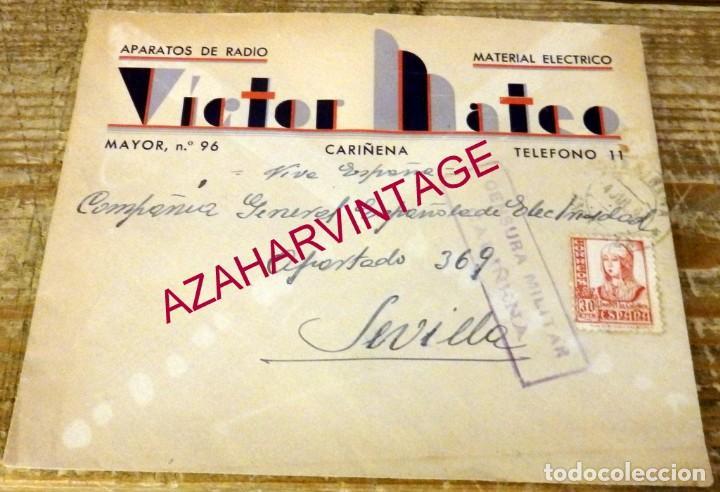 CARIÑENA, 1937, SOBRE CIRCULADO A SEVILLA, CENSURA MILITAR (Sellos - España - Guerra Civil - De 1.936 a 1.939 - Cartas)