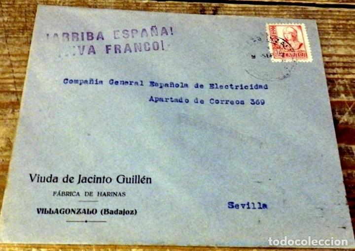 VILLAGONZALO, BADAJOZ, 1937, SOBRE CIRCULADO A SEVILLA, CENSURA MILITAR , RARO (Sellos - España - Guerra Civil - De 1.936 a 1.939 - Cartas)