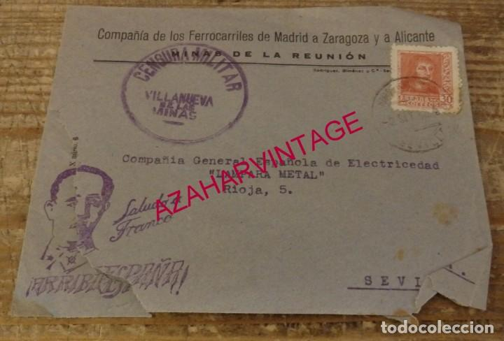 SOBRE CIRCULADO MINAS DE LA REUNION, CENSURA MILITAR VILLANUEVA DE LAS MINAS, MUY RARA (Sellos - España - Guerra Civil - De 1.936 a 1.939 - Cartas)