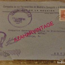 Sellos: SOBRE CIRCULADO MINAS DE LA REUNION, CENSURA MILITAR VILLANUEVA DE LAS MINAS, MUY RARA. Lote 169456644
