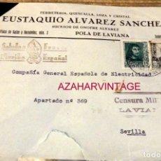 Sellos: POLA DE LAVIANA, ASTURIAS, 1938, SOBRE CIRCULADO A SEVILLA, CENSURA MILITAR. Lote 169492692
