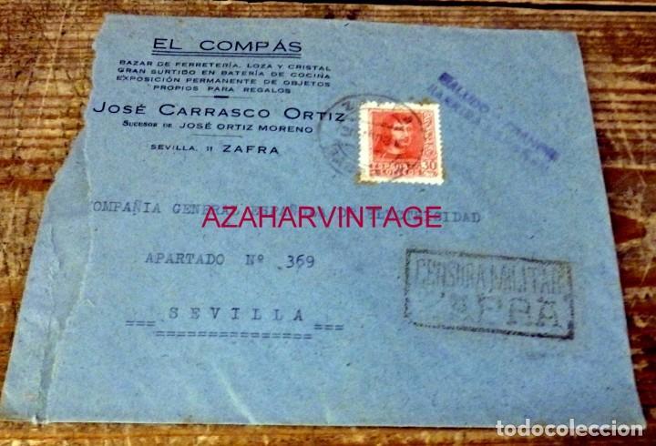 ZAFRA, BADAJOZ,1938, SOBRE CIRCULADO A SEVILLA, RARA CENSURA MILITAR DE ZAFRA (Sellos - España - Guerra Civil - De 1.936 a 1.939 - Cartas)