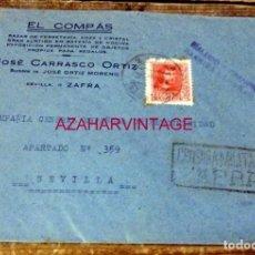 Sellos: ZAFRA, BADAJOZ,1938, SOBRE CIRCULADO A SEVILLA, RARA CENSURA MILITAR DE ZAFRA. Lote 169507492