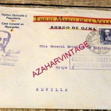 Sellos: BURGO DE OSMA, SORIA, 1938, SOBRE CIRCULADO A SEVILLA, CENSURA MILITAR. Lote 169508492