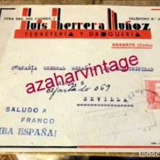 Sellos: BARBATE, CADIZ, SOBRE FERRETERIA LUIS HERRERA, CIRCULADO A SEVILLA, CENSURA MILITAR. Lote 169541972