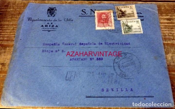 ARIZA, ZARAGOZA, 1939, SOBRE CIRCULADO A SEVILLA, CENSURA MILITAR (Sellos - España - Guerra Civil - De 1.936 a 1.939 - Cartas)