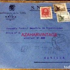 Sellos: ARIZA, ZARAGOZA, 1939, SOBRE CIRCULADO A SEVILLA, CENSURA MILITAR. Lote 169543036