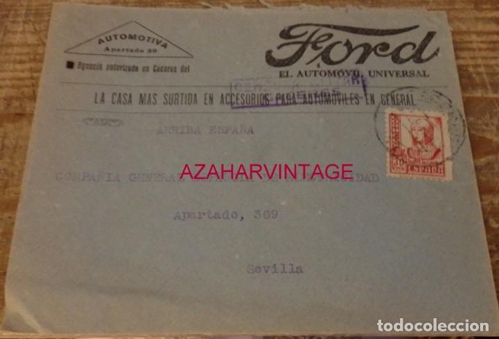 CACERES, 1938, SOBRE COMERCIAL FORD CIRCULADO A SEVILLA, CENSURA MILITAR, VER IMAGENES (Sellos - España - Guerra Civil - De 1.936 a 1.939 - Cartas)