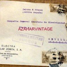 Sellos: MELGAR DE FERNAMENTAL, CARTA CIRCULADA A SEVILLA, ELECTRA POPULAR ZORITA,S.A., CENSURA MILITAR. Lote 169589500