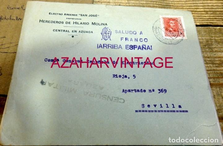 AZUAGA, BADAJOZ. 1938, CARTA ELECTRO ARCENSE SAN JOSE CIRCULADA A SEVILLA, CENSURA MILITAR (Sellos - España - Guerra Civil - De 1.936 a 1.939 - Cartas)