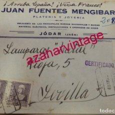 Sellos: JODAR, JAEN, 1939, SOBRE CIRCULADO A SEVILLA, CENSURADO A MANO, VER IMAGENES. Lote 169632252
