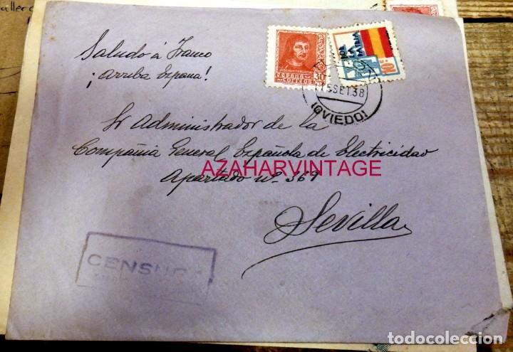 TURON, ASTURIAS,1938, SOBRE CIRCULADO A SEVILLA, CENSURA MILITAR (Sellos - España - Guerra Civil - De 1.936 a 1.939 - Cartas)