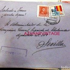 Sellos: TURON, ASTURIAS,1938, SOBRE CIRCULADO A SEVILLA, CENSURA MILITAR. Lote 169651592
