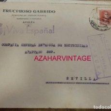 Sellos: AVILES, 1938, SOBRE FRUCTUOSO GARRIDO, CIRCULADO A SEVILLA, CENSURA MILITAR. Lote 169652536