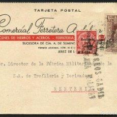 Sellos: GUERRA CIVIL, TARJETA POSTAL CON VIÑETA, CIRCULADA DE CÁDIZ A RENTERÍA, 1937. Lote 169736740