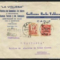 Sellos: GUERRA CIVIL, SOBRE CON VIÑETA, CIRCULADO DE CÁDIZ A GUIPÚZCOA, 1937. Lote 169737580