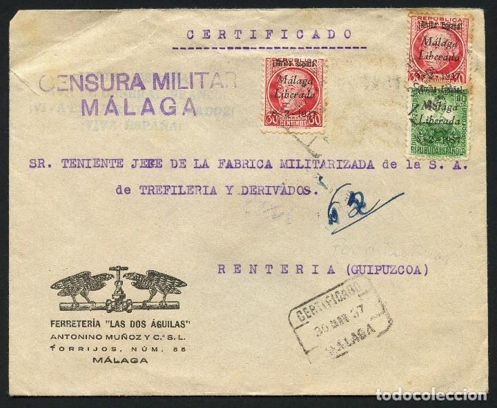 GUERRA CIVIL, SOBRE, SELLOS LOCALES, CIRCULADO MÁLAGA A GUIPÚZCOA, 1937 (Sellos - España - Guerra Civil - De 1.936 a 1.939 - Cartas)