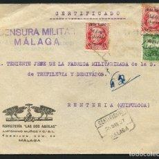 Sellos: GUERRA CIVIL, SOBRE, SELLOS LOCALES, CIRCULADO MÁLAGA A GUIPÚZCOA, 1937. Lote 169751436