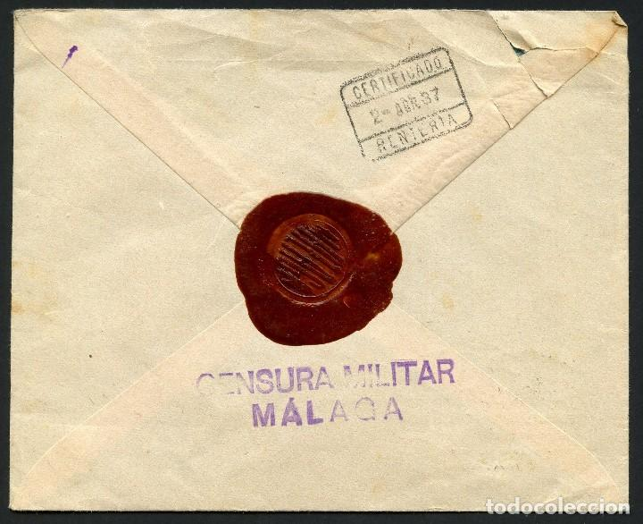 Sellos: GUERRA CIVIL, SOBRE, SELLOS LOCALES, CIRCULADO MÁLAGA A GUIPÚZCOA, 1937 - Foto 2 - 169751436