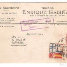 Sellos: GUERRA CIVIL, CENSURA MILITAR DE GIJON, CIRCULADA DE BARCELONA A GIJON, 2 SELLOS+VIÑETA. Lote 169760224