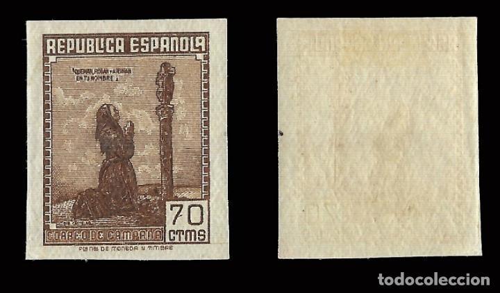 Sellos: Sellos España.1939. Correo de Campaña. 70c. castaño. Sin dentar Nuevo*. Edif. Nº NE 52 - Foto 2 - 169852216