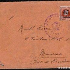 Sellos: GUERRA CIVIL. 1938. DEL FRENTE A MANRESA. SOBRE 27 DIVISIÓN 124 BRIGADA. INTERESANTE.. Lote 169873476