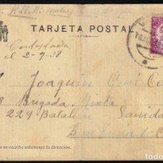Sellos: GUERRA CIVIL. 1938. VALENCIA AL FRENTE. TARJETA POSTAL A UN SOLDADO. INTERESANTE.. Lote 169873564
