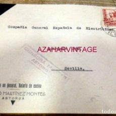 Sellos: SOBRE CIRCULADO DESDE ASTORGA A SEVILLA, 1937, CENSURA MILITAR. Lote 170068024