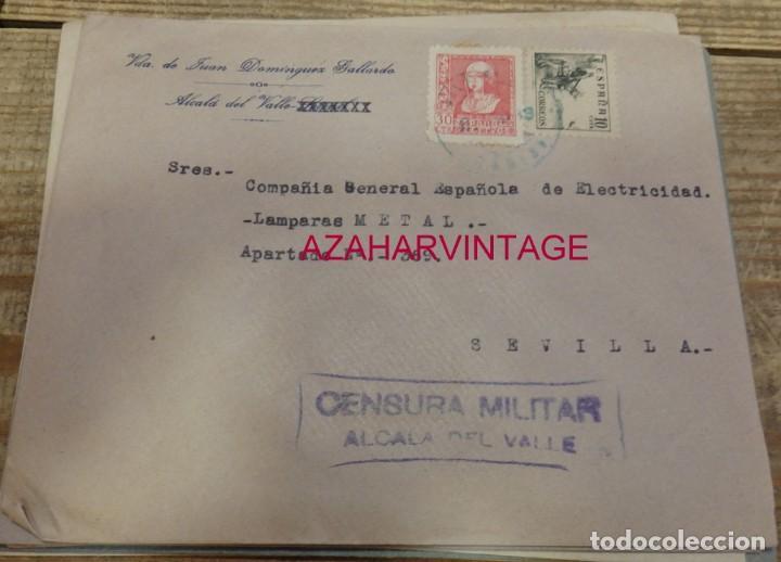 ALCALA DEL VALLE, CADIZ, 1939, SOBRE CIRCULADO A SEVILLA, CENSURA MILITAR, REVERSO SELLO LOCAL (Sellos - España - Guerra Civil - De 1.936 a 1.939 - Cartas)