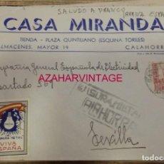 Sellos: SOBRE CIRCULADO DE CALAHORRA A SEVILLA, CENSURA MILITAR Y VIÑETA, MEMBRETE CASA MIRANDA. Lote 170069028