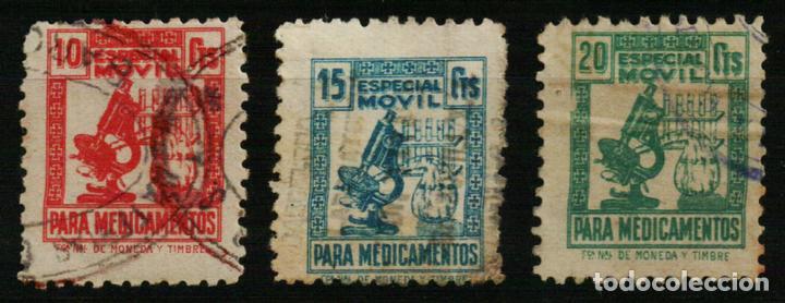 ESPECIAL MÓVIL MEDICAMENTOS. MICROSCOPIO 1939/41 (Sellos - España - Guerra Civil - De 1.936 a 1.939 - Usados)