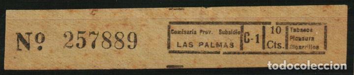 LAS PALMAS. IMPUESTO SOBRE EL TABACO. SUBSIDIOS 1936/39. GUERRA CIVIL (Sellos - España - Guerra Civil - Locales - Usados)