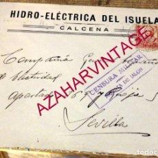 Sellos: CALCENA, ZARAGOZA, 1937, SOBRE CIRCULADO A SEVILLA, CENSURA MILITAR MORATA DE JALON. Lote 170165232