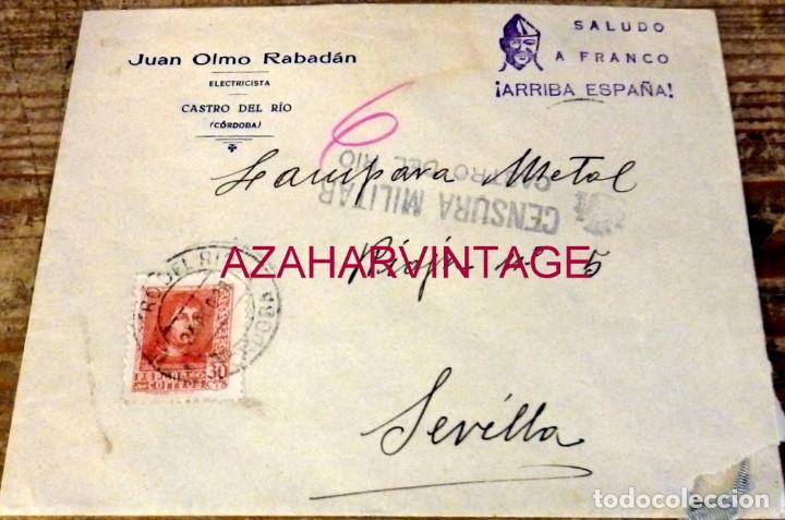 CASTRO DEL RIO, CORDOBA, 1938, SOBRE CIRCULADO A SEVILLA, CENSURA MILITAR, MUY RARO (Sellos - España - Guerra Civil - De 1.936 a 1.939 - Cartas)