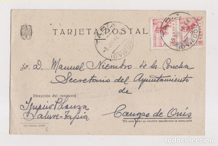 TARJETA POSTAL DE TAPIA A CANGAS DE ONÍS. ASTURIAS. CENSURA MILITAR (Sellos - España - Guerra Civil - De 1.936 a 1.939 - Cartas)
